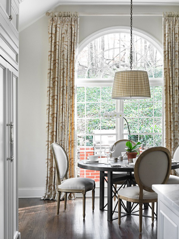 Louis dining chairs in a sunny breakfast area of an elegant kitchen. Beautiful Classically Refined Rooms on Hello Lovely Studio. #louis #chair #breakfastroom