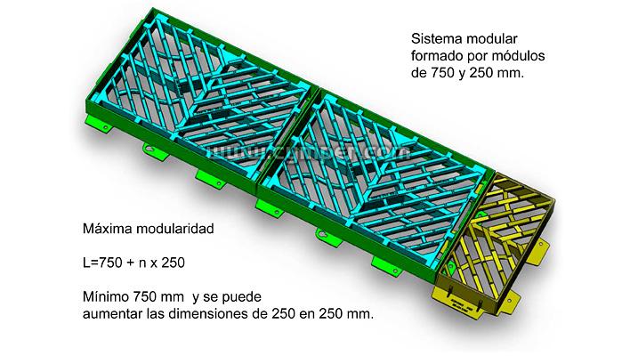 Reja imbornal Maremagnum 750x500 Fundición Dúctil D400 - Módulos