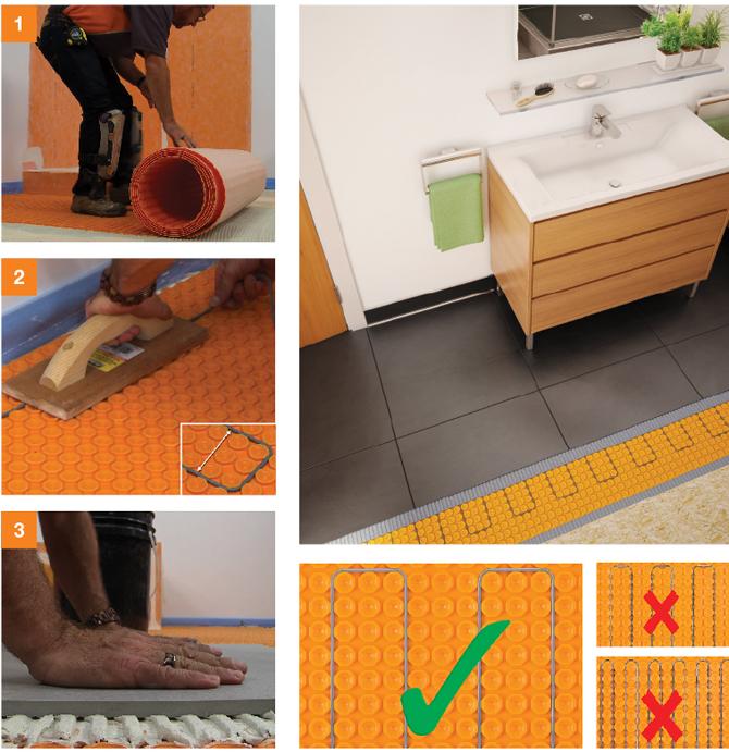 Calefacción en suelo y pared con DITRA-HEAT 05