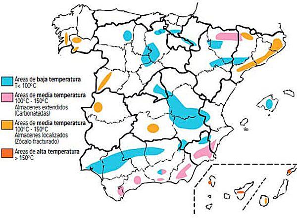 Distribución de yacimientos registrados a nivel nacional. Fuente: Instituto Geológino y Minero de España.