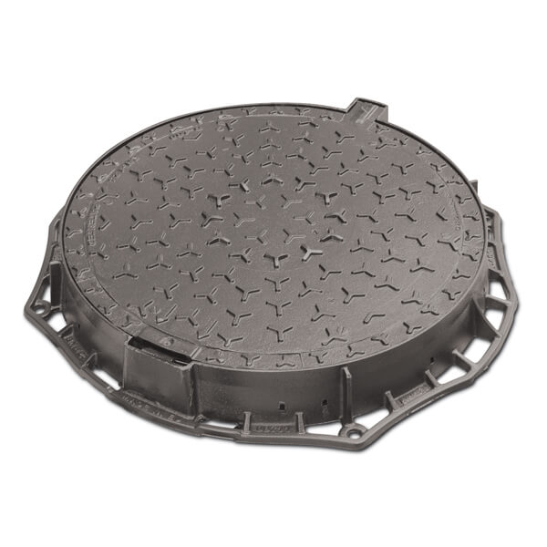 Tapa de arqueta de fundición D400 H100 diámetro 600