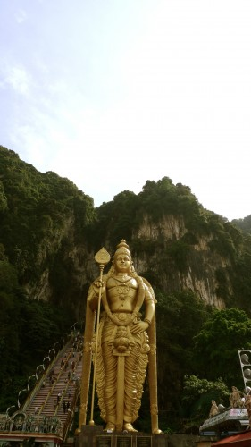 Murugan statue, see the stairs? We climbed them!