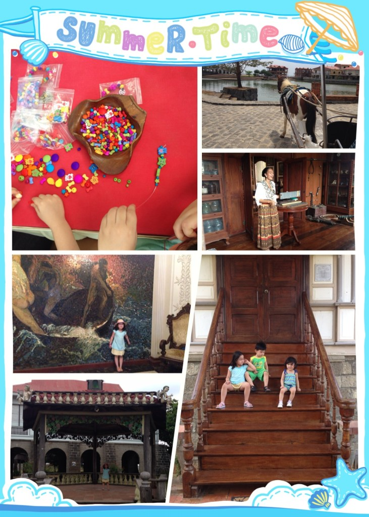 clockwise from left: fun with beads, aboard the calesa, during the heritage tour, picture-taking on the stairs, the pretty gazebo, mosaic wall painting in the opulent casa vyzantina