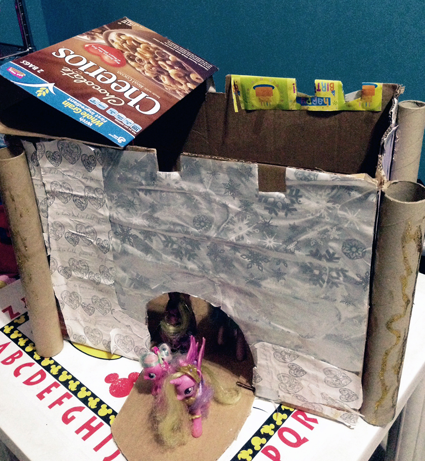 kids handiwork cardboard castle top up