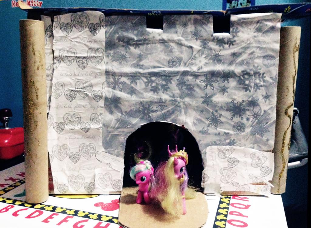 kids handiwork cardboard castle wrapped