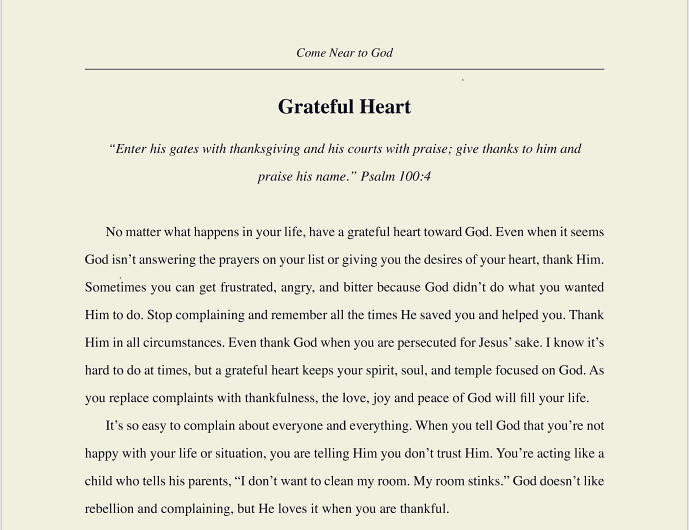screen shot of come near to God book grateful heart chapter