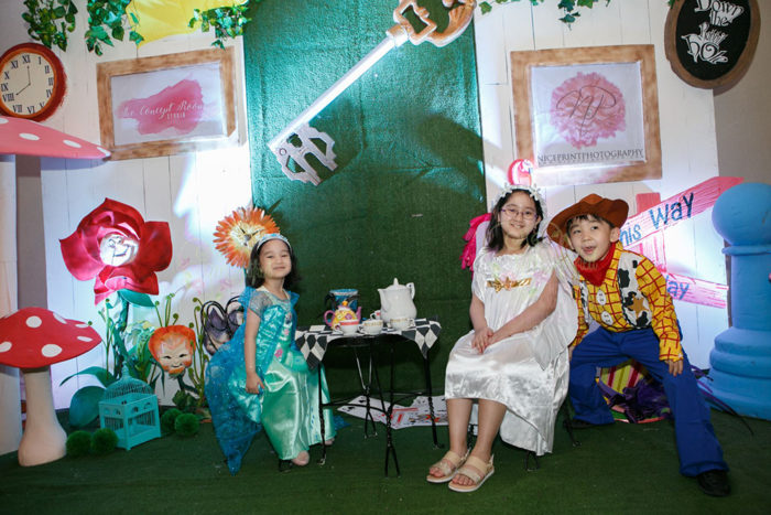 playing dress-up pretend tea party