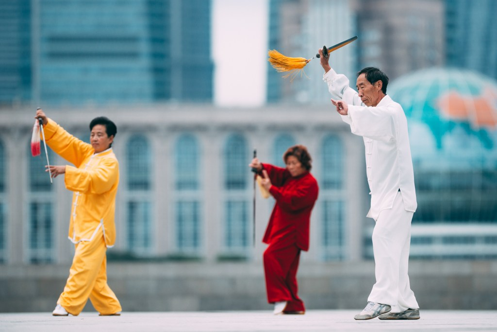 shanghai people doing taichi