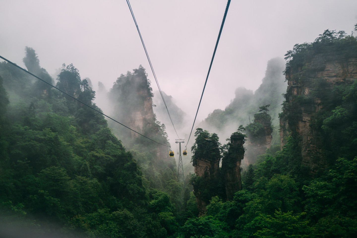 photo of the mountains and cable car at zhangjiajie national park