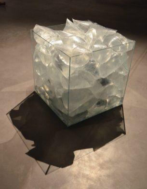 Cube en verre, sacs de congélations, eau, encre de chine. exposition alerte météo 2.