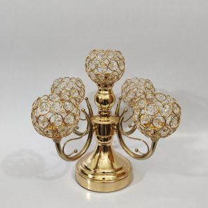 Golden Color 5 in 1 Glossy Metal Made Candle Holder