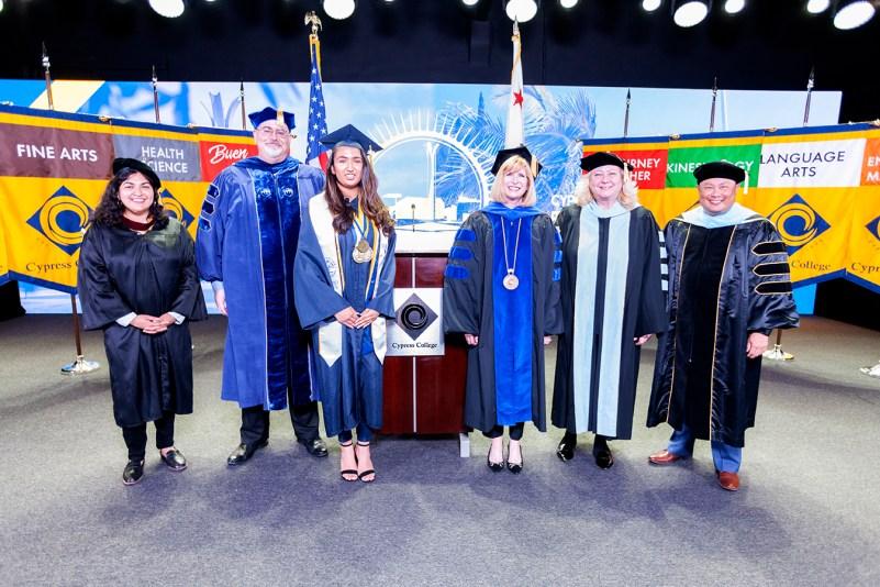 photo of commencement participants in regalia