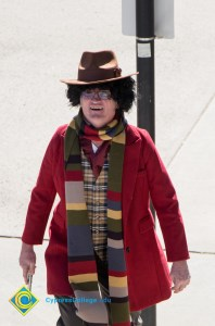 Professor dressed in Halloween costume
