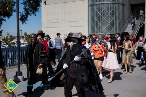 Students dressed up for Halloween walk across campus