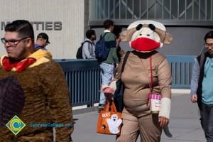 Student dressed as sock monkey
