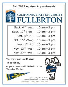 2019 CSU Fullerton advisor appointments dates and times