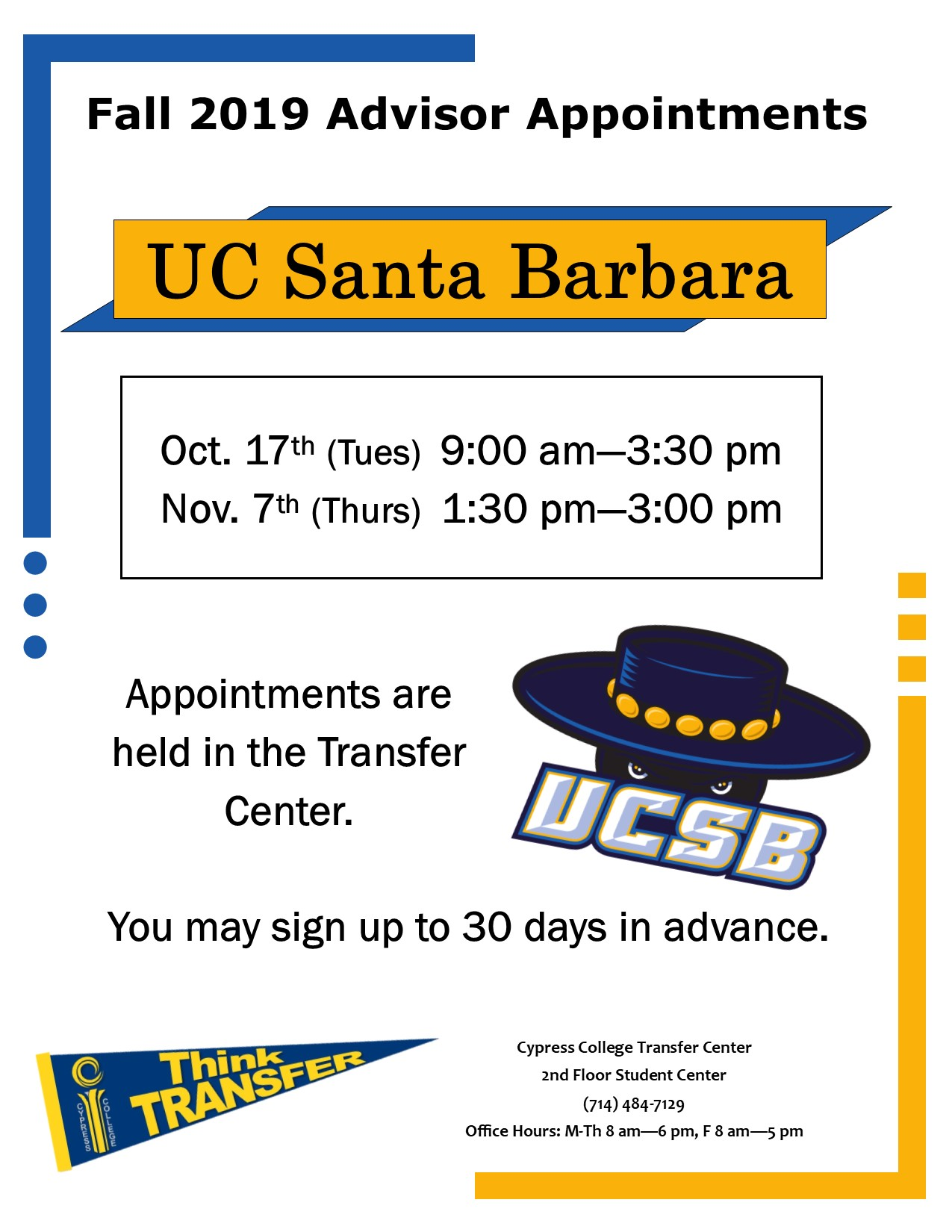2019 UC Santa Barbara advisor appointments dates and times