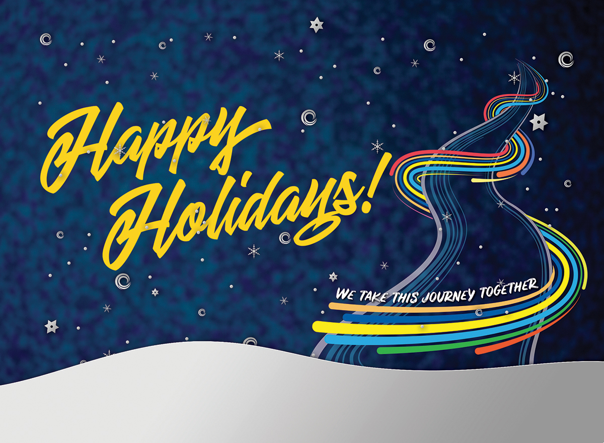 Cypress College holiday card, reading: happy holidays!
