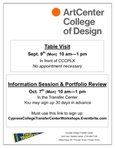 Flyer on white background, with Art Center College of Design logo and transfer center pennant
