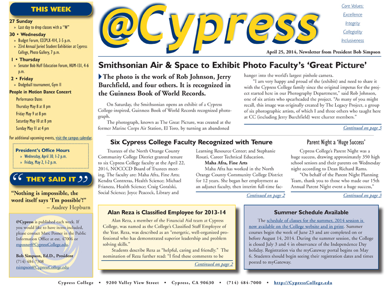 image showing the first page of the @Cypress newsletter for the week ending April 25, 2014.