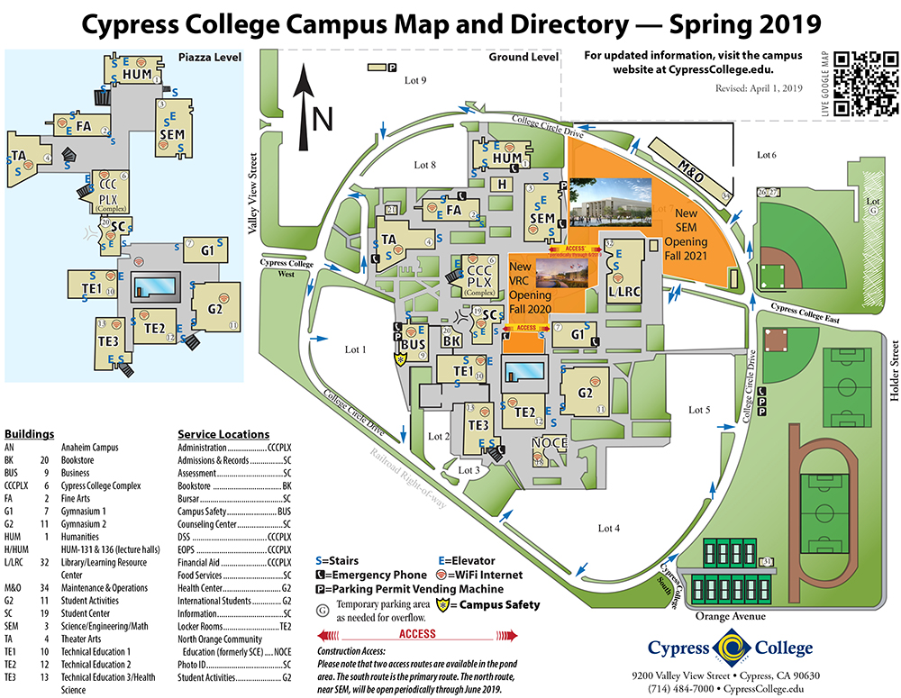 graphic regarding Printable Map of Orange County Ca known as Campus Map Guidelines Cypress Higher education