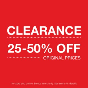 graphic reading 'clearance 25-50% off original prices