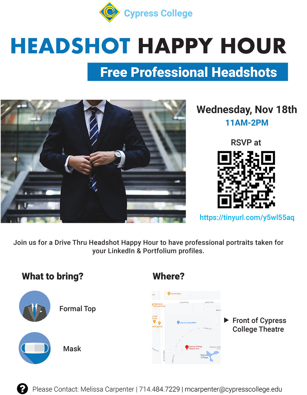 Flyer for free headshot event