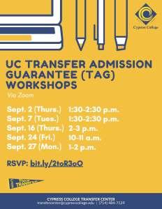 UC Transfer Admission Guarantee workshops flyer