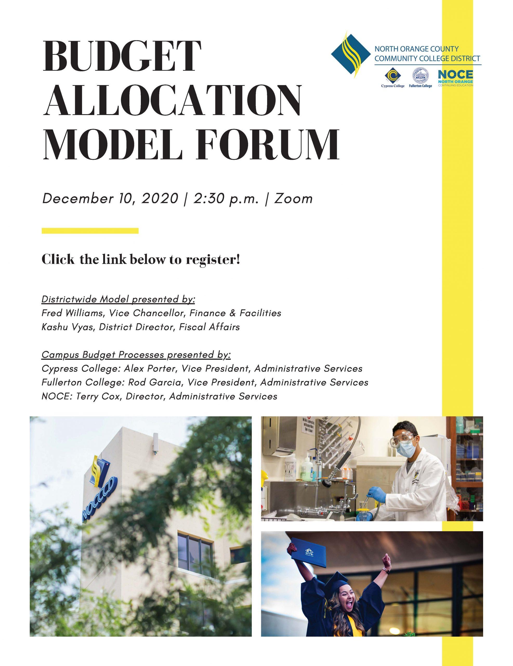 Budget Allocation Model Forum flyer