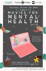 Movies for Mental Health flyer, features hands and a computer