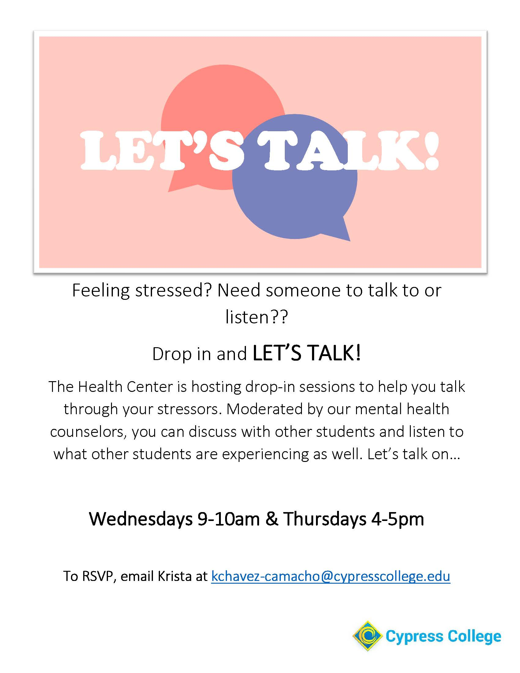 Flyer for Let's Talk, a weekly meeting where people can discuss their issues.