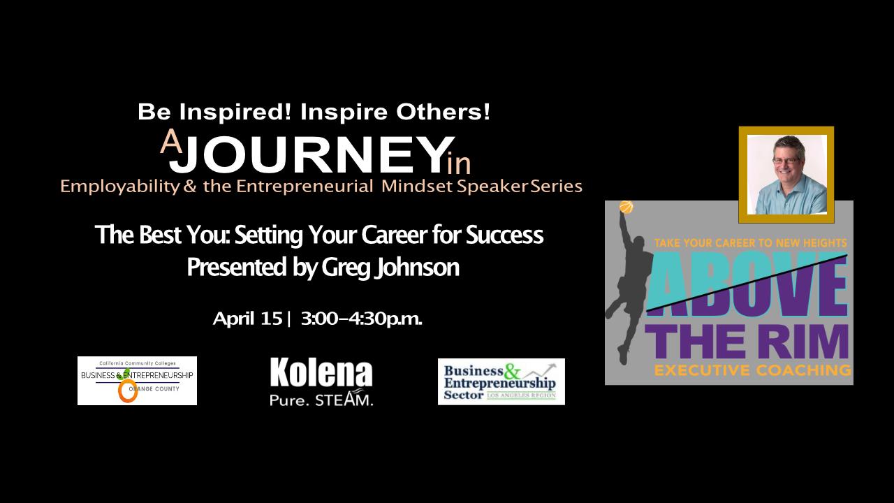 Image promoting job-hunting event featuring motivational speaker Greg Johnson of Above the Rim job coaching.