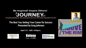 Image promoting job-hunting event featuring motivational speaker Greg Johnson of Above the Rim job coaching.
