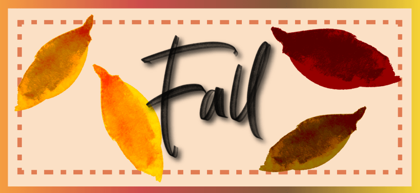 """Banner with leaves and the word """"fall"""""""