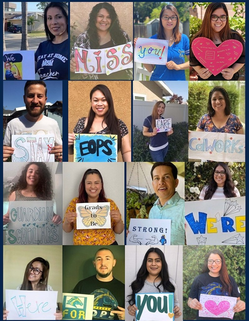 Photo collage of employees holding signs