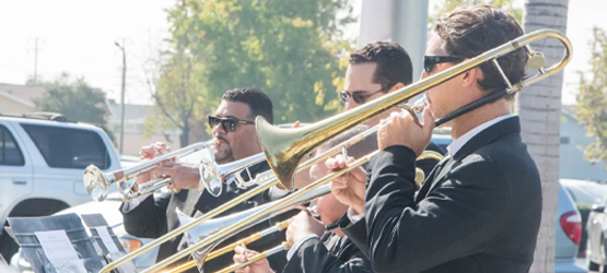 Musicians playing trumpets