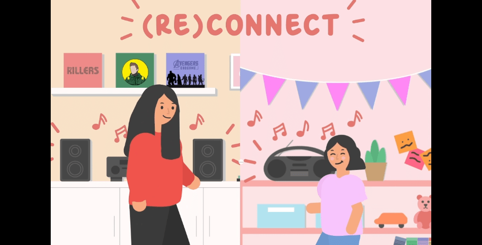 """Animated image of a young girl at left and a younger, """"inner child"""" version of her on the right, listening to music on their respective devices and dancing."""