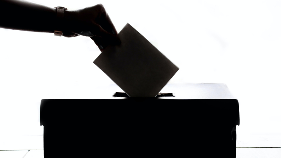 Person slipping paper ballot into a box