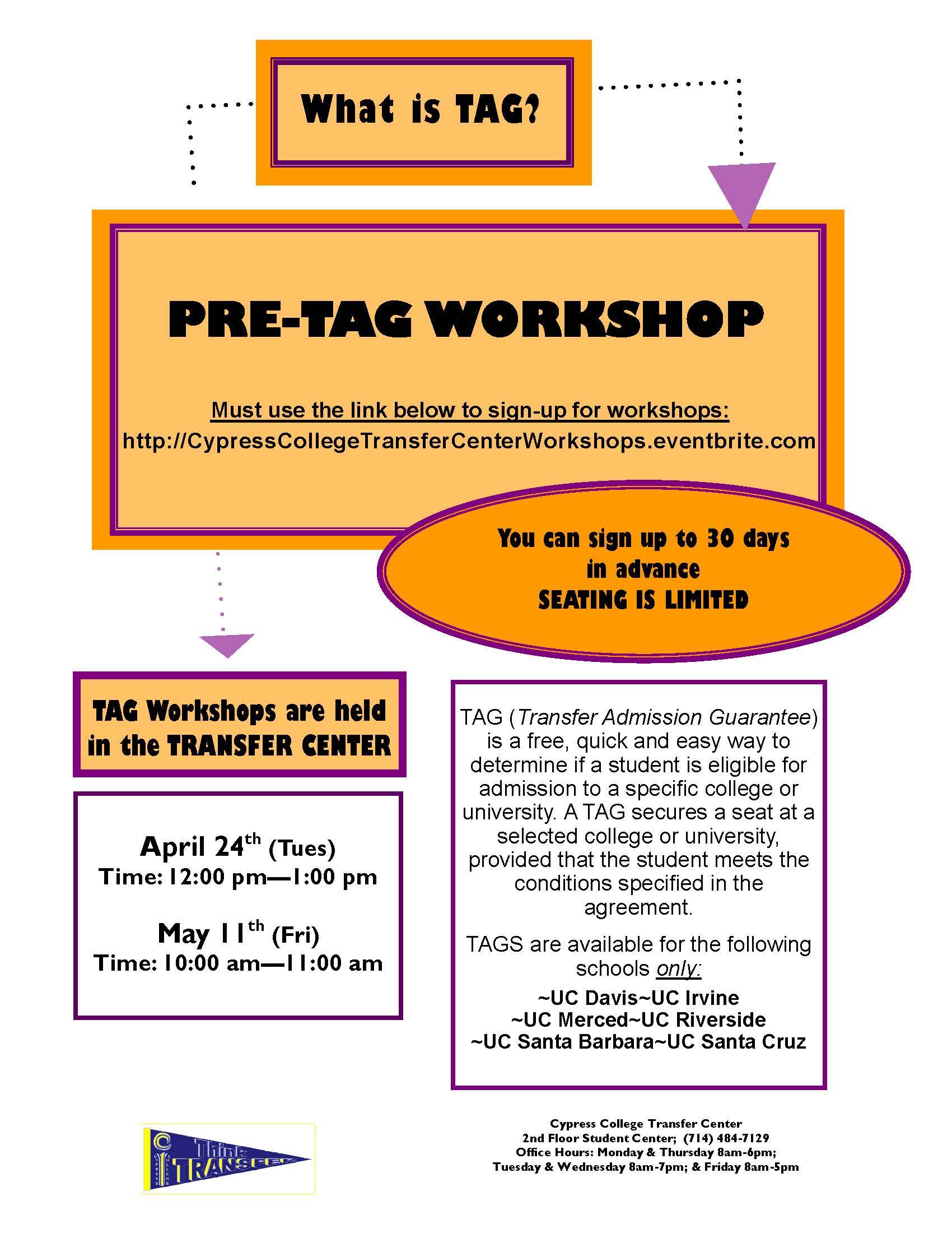 Pre tag workshop cypress college event navigation platinumwayz