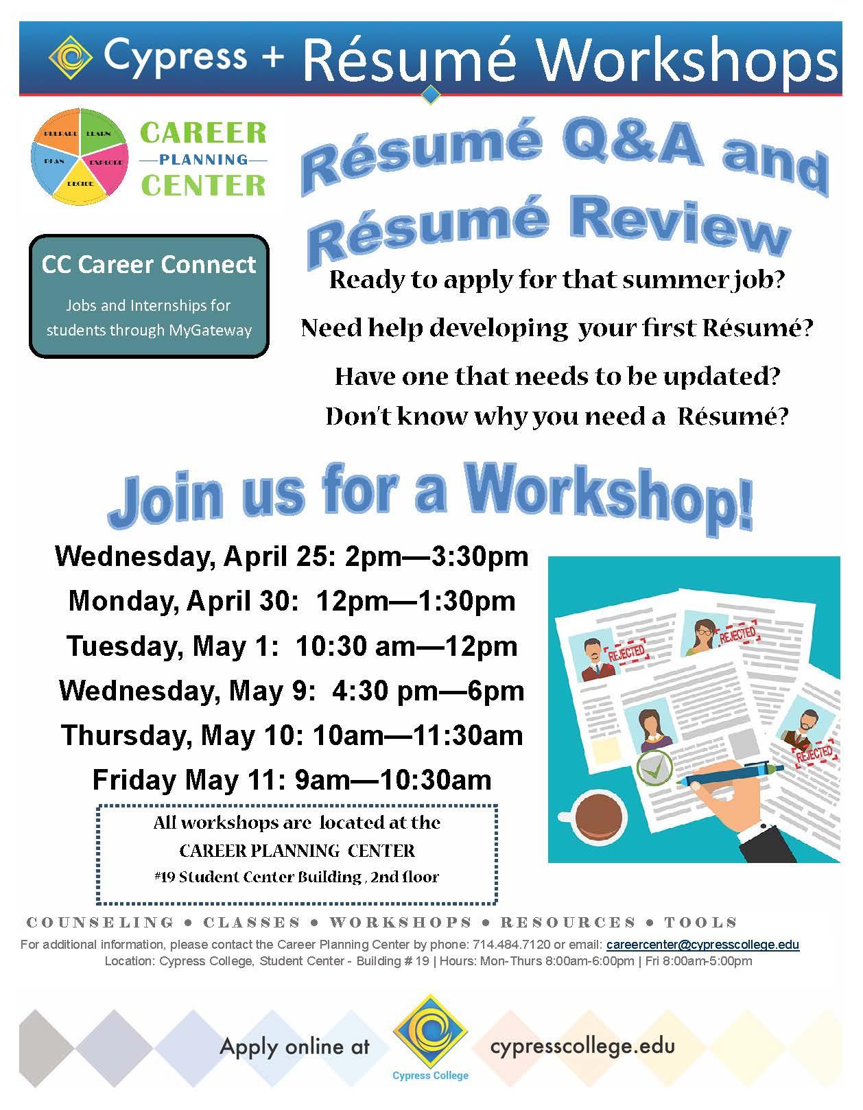 resume Cypress Resume resume workshops cypress college event navigation