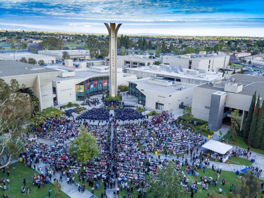 Drone image showing Cypress College's 50th commencement