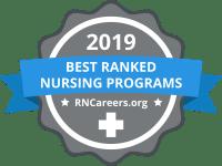 Badge stating 2019 Best Ranked Nursing Programs by RNCareers.org