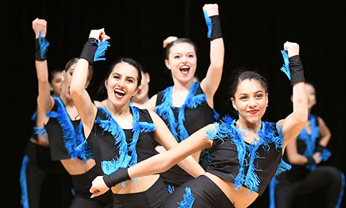 Members of the Cypress Ridge High School Dazzlers dance team (front to back) Jayden Gaudin, Tania Zermeno and Anna dos Santos-Becker perform their jazz routine at the CFISD Dance ShowOffs on Jan. 19 at the Berry Center. (CFISD courtesy photo)