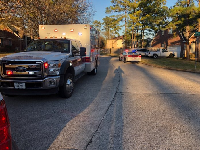 Precinct 4 Constables were on the scene at the 8900 block of Forest Creek Drive, after a child was struck by a vehicle and has been treated by EMS. Child had non-life-threatening injuries. (Pct. 4 Constable courtesy photo)