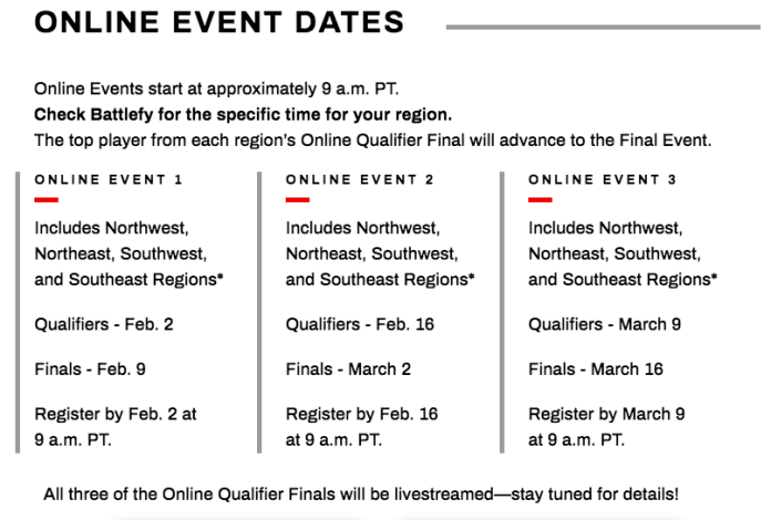 The registration dates and times for the upcoming online tournament. (Nintendo)