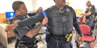 """Harris County Sheriff's deputies practice applying tourniquets during a recent """"Stop the bleed"""" training with the Cypress Creek EMS. (CCEMS courtesy photo)"""