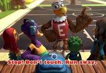 Eddie Eagle and the Wing Team learn about kids' gun safety. Stop, Don't touch, Run away, and Tell a grown-up. (NRA)