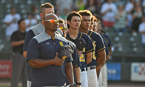 Cypress Ranch High School Head Baseball Coach Corey Cephus (front) was named the 2017-2018 Texas Coach of the Year for Boys' Baseball by the National Federation of State High School Associations. Nominated by the University Interscholastic League, Cephus and the Mustangs reached the Class 6A state semifinals in 2018, the program's third state appearance since 2012. (CFISD courtesy photo)