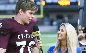 Cy-Fair High School senior offensive lineman Graham Lakin (left) earned second-team honors on the 68th Annual Collin Street Bakery/Texas Sports Writers Association's Class 6A all-state football team. Lakin and five other CFISD athletes received accolades on the team. (CFISD courtesy photo)