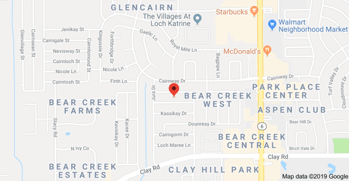 The location of 16600 Gaeldom Drive, in the Bear Creek area. (Google Maps)